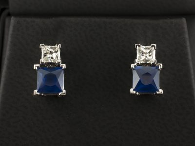 18kt White Gold Claw Set Earrings With Princess Cut Sapphire 2.11ct Total and Princess Cut Diamond 0.48ct G VS Minimum