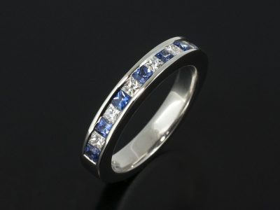 9kt White Gold Princess Cut Diamond 0.36ct and Princess Cut Sapphire 0.37ct Channel Set Design