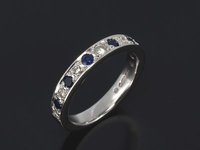 Platinum Round Brilliant Cut Diamond 0.07ct, 0.14ct (6) and Round Brilliant Cut Sapphire 0.54ct (6) Pavé Set Design