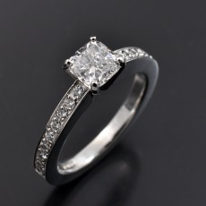 Cushion Cut 0.74ct E Colour VS1 Clarity in a Pavé Set Platinum 4 Claw Design.