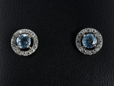 Round Santa Maria Aquamarine Earrings 0.78ct with Pavé Set Diamond Halo. Handmade in Palladium.