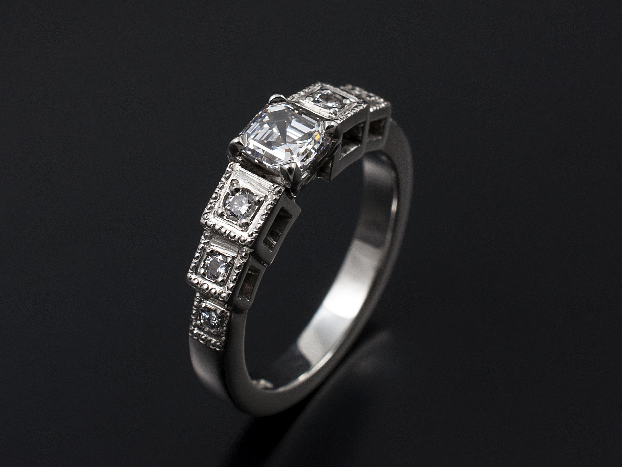engagement jewellery asscher cut jewellers whitakers rings diamond ring halo