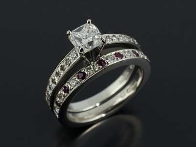Cushion 0.74ct E VS1 with Diamond and Ruby Pave Set Fitted Wedding Ring.