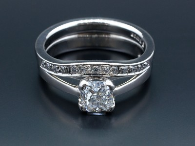 Cushion Cut Diamond and Pavé Set Fitted Wedding Ring