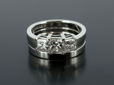 Princess Cut 0.70ct D Colour VS1 Clarity Ex Polish Ex Symmetry with Fitted Spacer Ring and Platinum Wedding Ring