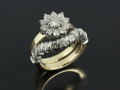 Diamond Cluster Ring with Bar Set Fitted Eternity / Wedding Ring in Platinum and 18kt Yellow Gold.