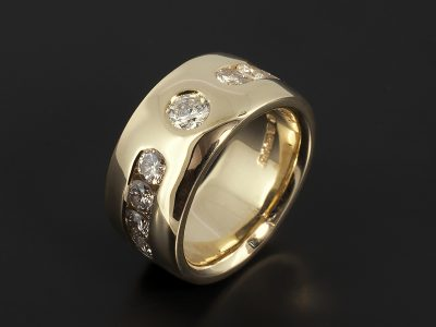 15kt Yellow Gold Channel Set Dress Ring 1.14ct Total F Colour VS Clarity Min.