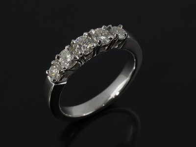 Eternity Ring in 14kt White Gold with 5 claw Set Diamonds 1.10ct Total F Colour VS Clarity Min.