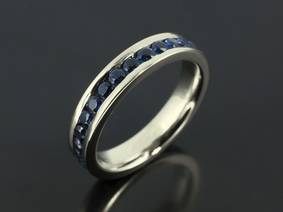 Full Channel Set Palladium Eternity Ring with Round Brilliant Sapphires 1.67ct Total.