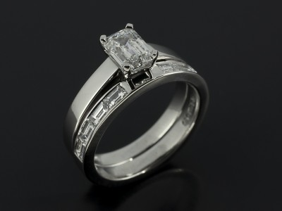 Emerald Cut 1.01ct E Colour S1 Clarity EXEX with Fitted Platinum Channel Set Baguette Cut Wedding Ring.
