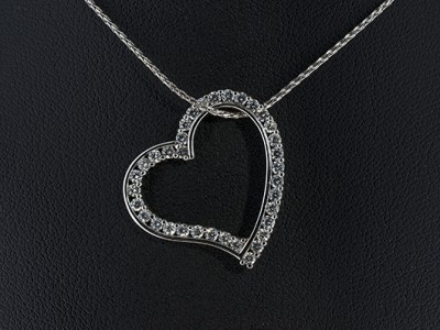 Heart Pendant in 18kt White Gold with Pave Set Round Brilliant Diamonds.