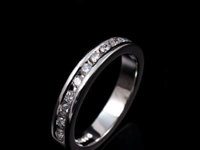 Ladies Platinum Channel Set Diamond Wedding Eternity Ring. 11 x 0.03ct F VS Round Brilliant Diamonds