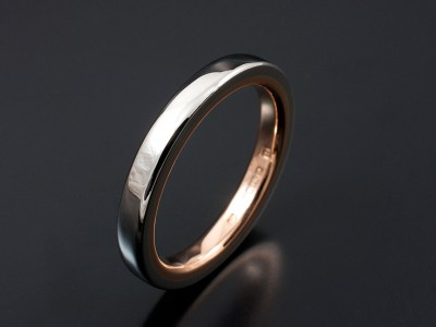 Ladies Platinum and 18kt Red Gold Two Tone Wedding Ring