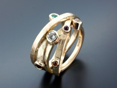 Ladies Satellite Design 9kt Yellow Gold Wedding Ring with Diamond, Emerald, Garnet, Amethyst, Citrine and Moonstone set in Rub Over Settings.