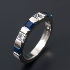 Ladies Wedding Eternity Ring Comprising 2 x 0.10ct F VS Princess Cut Diamonds and 3 x 3mm Square Ceylonese Sapphires. Hand Made and Bar Set in Palladium.