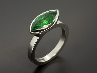Marquise Cut Emerald 1.71ct Set In Platinum in a Rub Over Design