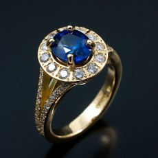 Oval 2.01ct Ceylonese Sapphire with Multiple Round Brilliants Pave Set into Halo and Split Shoulders in 18kt Yellow Gold. Copy