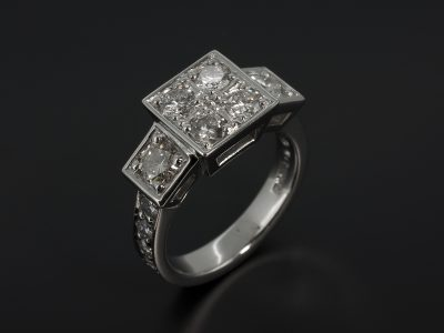Palladium Dress Ring with Round Brilliant Cut Pavé Set Diamonds 2.18ct Total