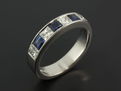Palladium Channel Set Princess Cut Diamond 0.65ct and Sapphire 0.67ct Eternity / Wedding Ring.