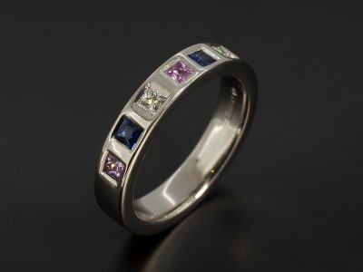 Palladium Eternity / Dress Ring with Princess Cut Diamonds Pink and Blue Sapphires.