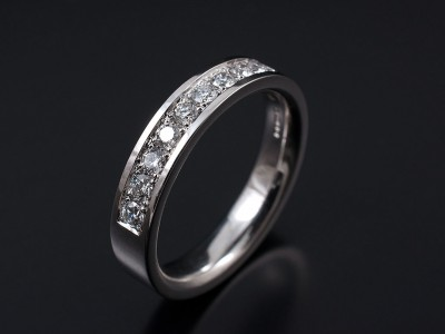 Pave Set 18kt White Gold Wedding Eternity Ring with 11 x 0.03ct F VS Round Brilliant Diamonds