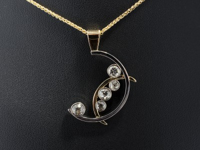 Pendant Crescent Moon Inspired Design in 18kt Yellow Gold and Palladium. Round Brilliant Diamonds in Rub Over 18kt White Gold Settings