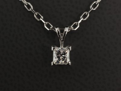 18kt White Gold Pendant with Princess Cut 0.46ct E Colour SI Clarity in a 4 Claw Set Double Bale Design.