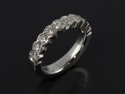 Platinum Eternity Ring with 10 x Round Brilliant Diamonds F VS Quality 1.30ct Total in a Half Rub Over Set Design.