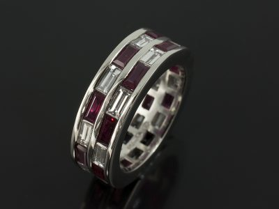 Platinum Baguette Cut Ruby 2.69ct and Diamond 2.16ct Double Row Eternity Ring.