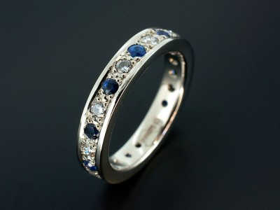 Platinum Full Diamond and Sapphire Eternity Wedding Ring with 11 x Round Brilliant Diamonds F VS 0.66ct total and 11 x Round Brilliant Sapphires 0.65ct total.