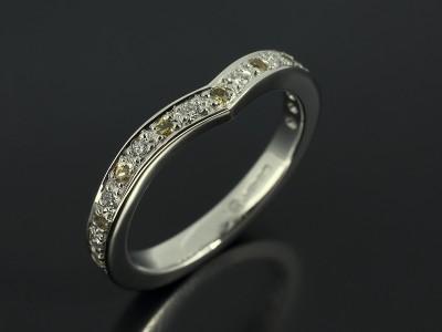 Platinum Wishbone Pavé Set Diamond and Yellow Sapphire Fitted Wedding Ring.