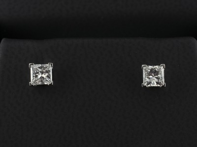 Princess Cut Diamond Earrings 0.66ct F Colour VS Clarity Min in 4 Claw Platinum Settings.