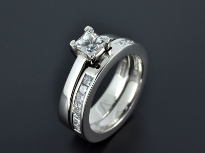 Princess Cut 0.57ct F Colour VS1 Clarity Palladium Engagement ring with Fitted Channel Set Wedding Ring.