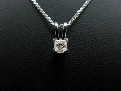 Princess Cut Pendant. 0.26ct H colour VS clarity in a 4 Claw 9ct White Gold Setting