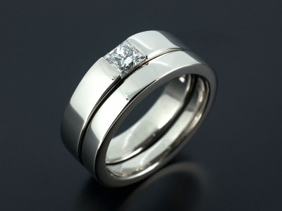 Princess Cut 0.25ct F Colour VS2 Clarity Tension Set Palladium Engagement Ring with Fitted Wedding Ring