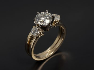 Round Brilliant 1.25ct F Colour SI1 Clarity EXEXEX and fitted 14kt Yellow Gold Wedding Ring with Round Brilliant Diamonds 0.60ct Total F Colour SI Clarity Min.