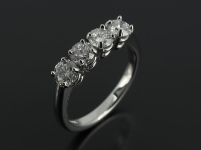Round Brilliant 4 Stone Platinum Claw Set Design 1.00ct F Colour VS2 Clarity