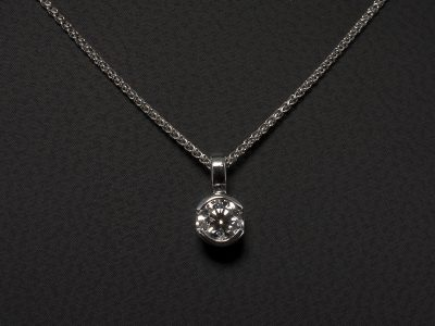9kt White Gold Half Rub Over Set Round Brilliant Cut Diamond 0.45ct D Colour SI1 Clarity, Triple Excellent Pendant Design
