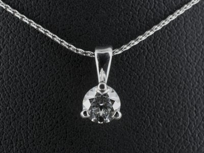 Pendant with Round Brilliant 0.53ct D Colour VS2 Clarity EXEXEX in an 18kt White Gold 3 Claw Setting.