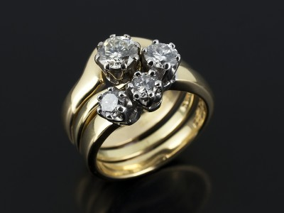 Round Brilliant 0.55ct F Colour VS2 Clarity in a Twist Design with fitted Diamond Set Eternity Ring and Wedding Ring.