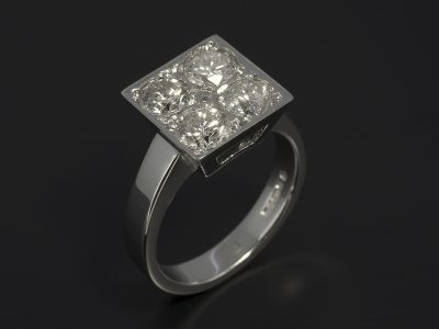9kt White Gold Dress / Eternity with Round Brilliant Cut Diamonds 0.73ct, 0.64ct, 0.62ct and 0.56ct