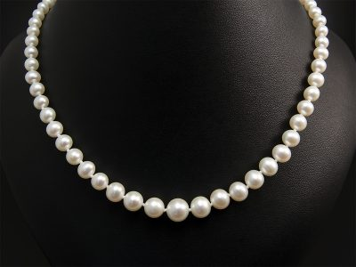 White Round Freshwater Graduated Pearl Necklace 3.5-8mm With Silver Plain Ball Clasp. Available In Store £365.00