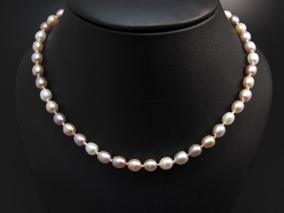 Multi Tone Seed Shape Freshwater Pearl Necklace 5x6mm With A Silver Oval Magnetic Clasp. Available In Store £150.00