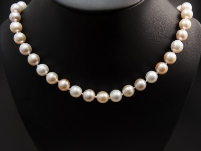 Silver Round Freshwater Pink, Peach Pearl Strand
