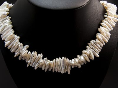 Peach Tone Stick Shape Freshwater Pearl Necklace With Silver Magnetic Clasp. Available in Store £425.00