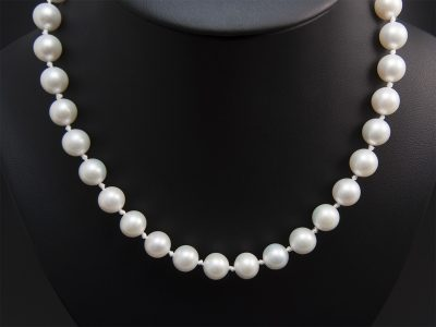 Light Ivory Round Freshwater Pearl Necklace 9-11mm With A Silver Magnetic Two Tone Wave Clasp. Available in Store £725.00