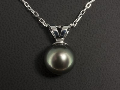 9kt White Gold Double Bale Tahitian Pearl Pendant 12mm