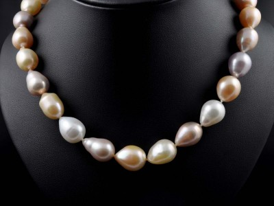 Multi Colour Fresh Water Pearl Necklace with Rose Gold Clasp