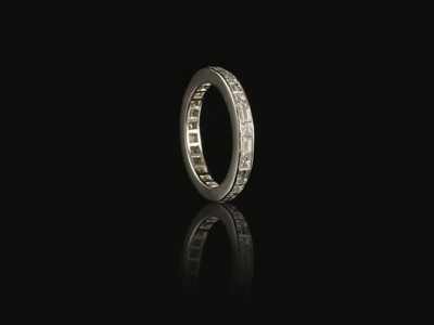 Platinum Channel Set Eternity Ring with 20 x F VS Baguette and Princess Cut Diamonds