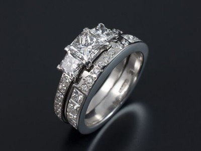 Princess Cut Platinum Trilogy with Fitted Princess Cut and Round Brilliant Cut Wedding Ring.